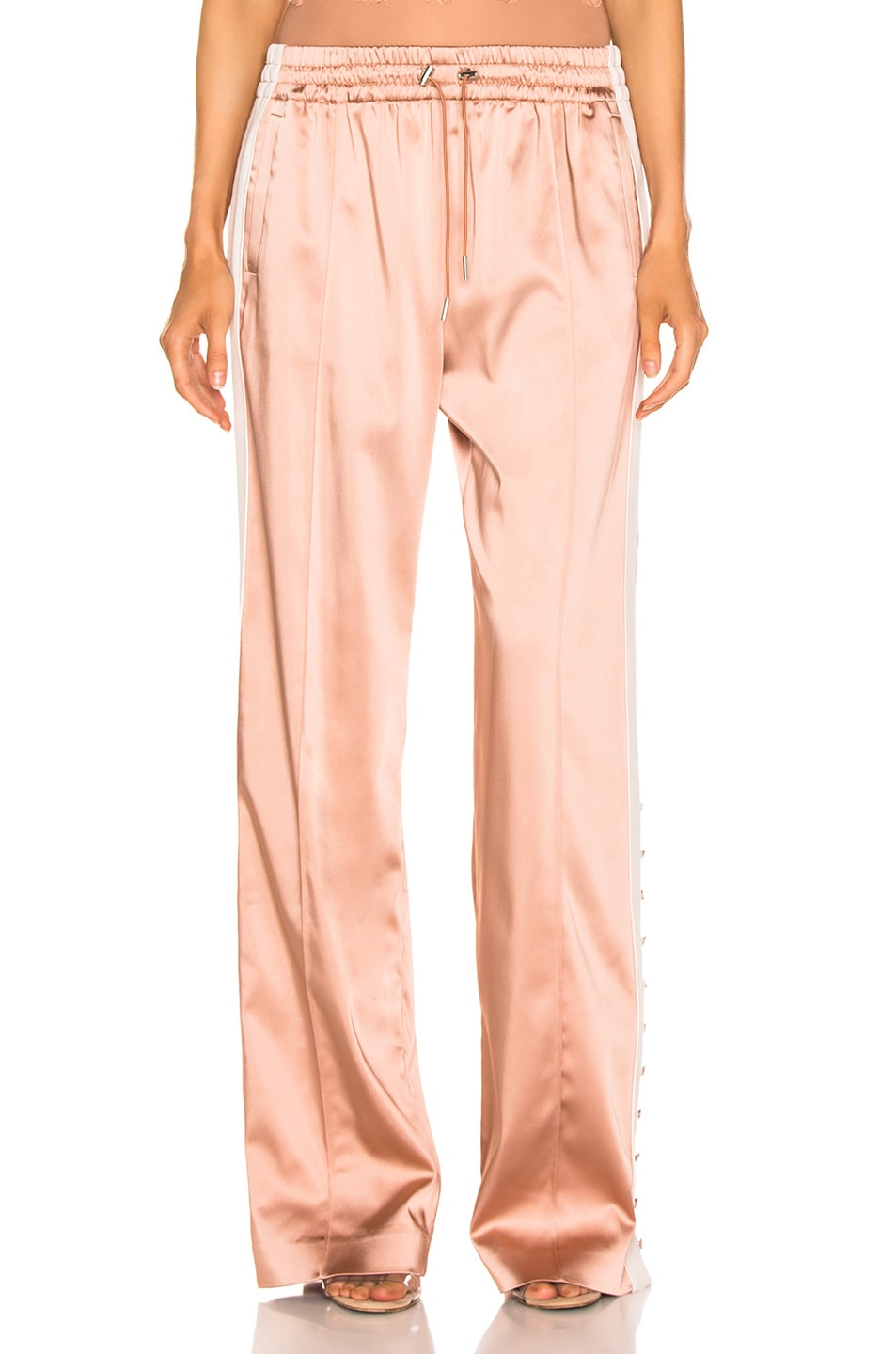 Image 2 of JONATHAN SIMKHAI Crepe Satin Combo Track Pant in Pink Sand & Nude