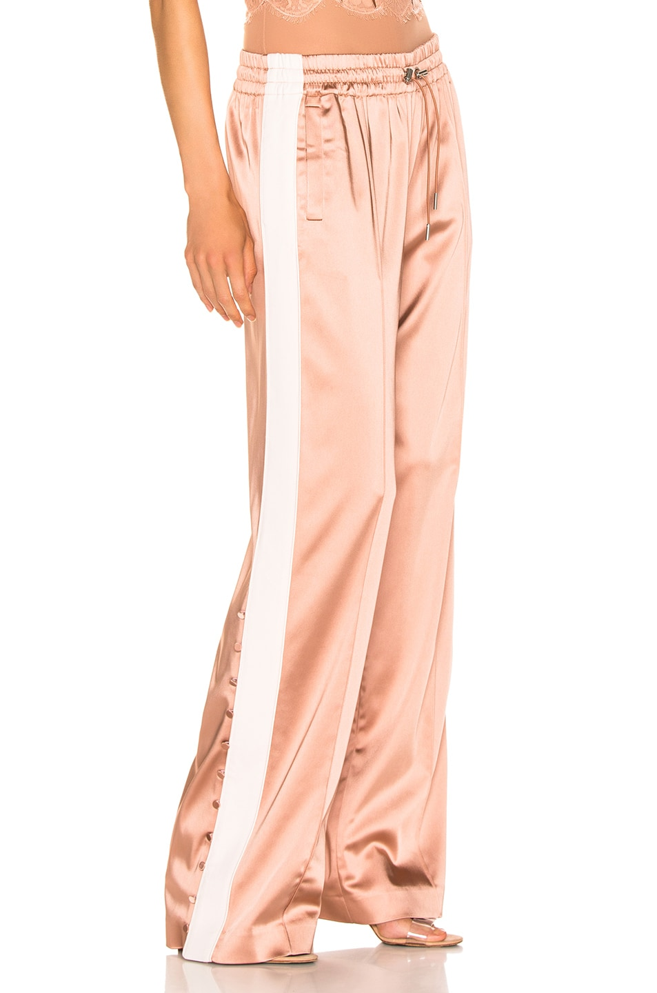 Image 3 of JONATHAN SIMKHAI Crepe Satin Combo Track Pant in Pink Sand & Nude