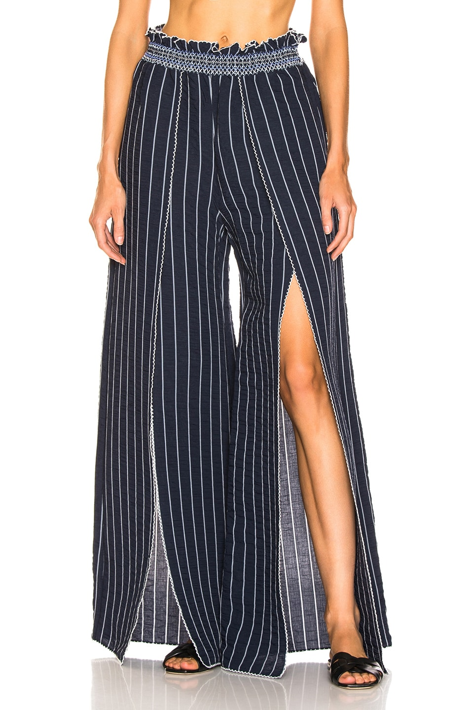 Image 1 of JONATHAN SIMKHAI Smocked Front Slit Pant in Midnight Combo