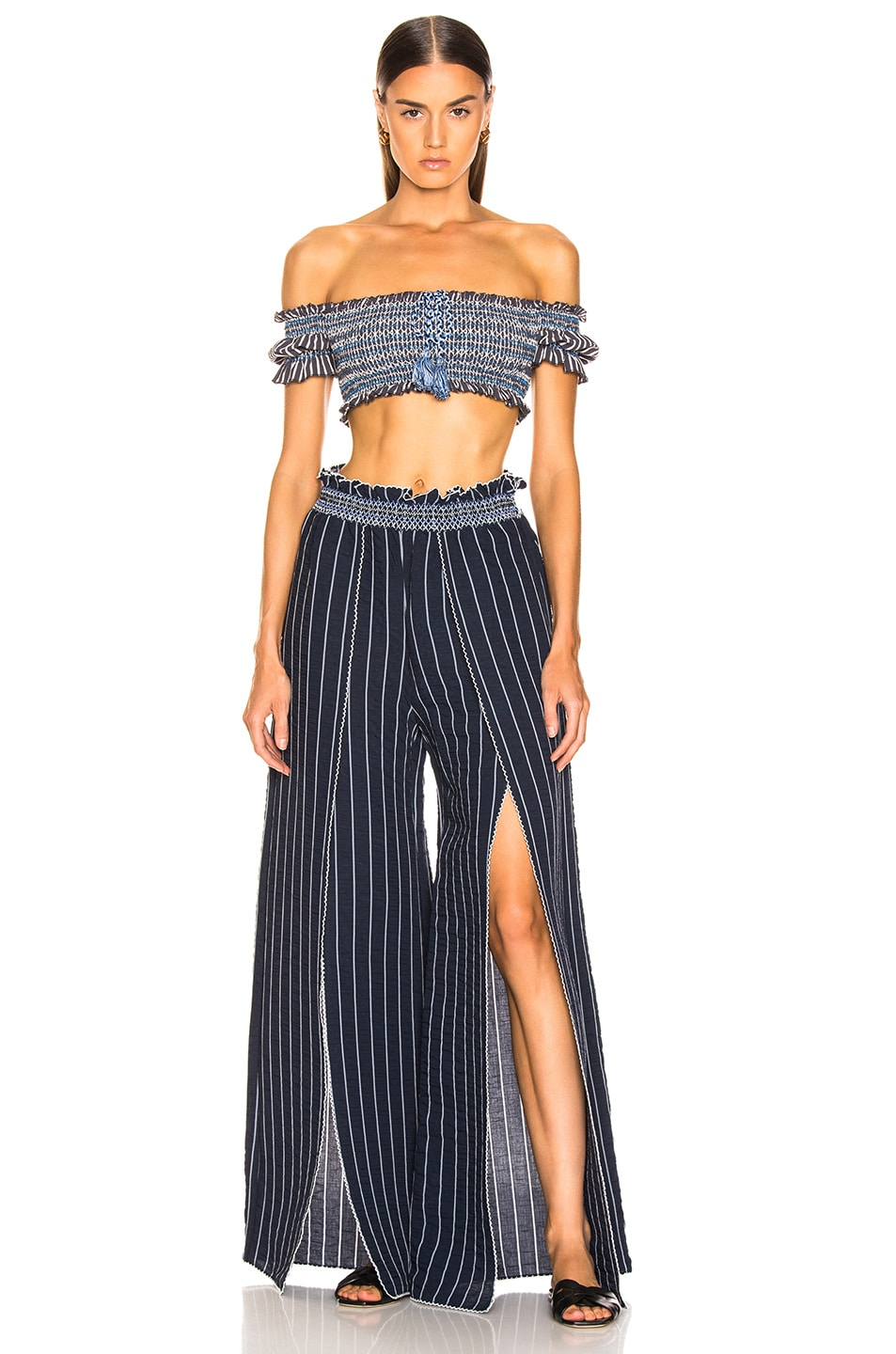 Image 4 of JONATHAN SIMKHAI Smocked Front Slit Pant in Midnight Combo