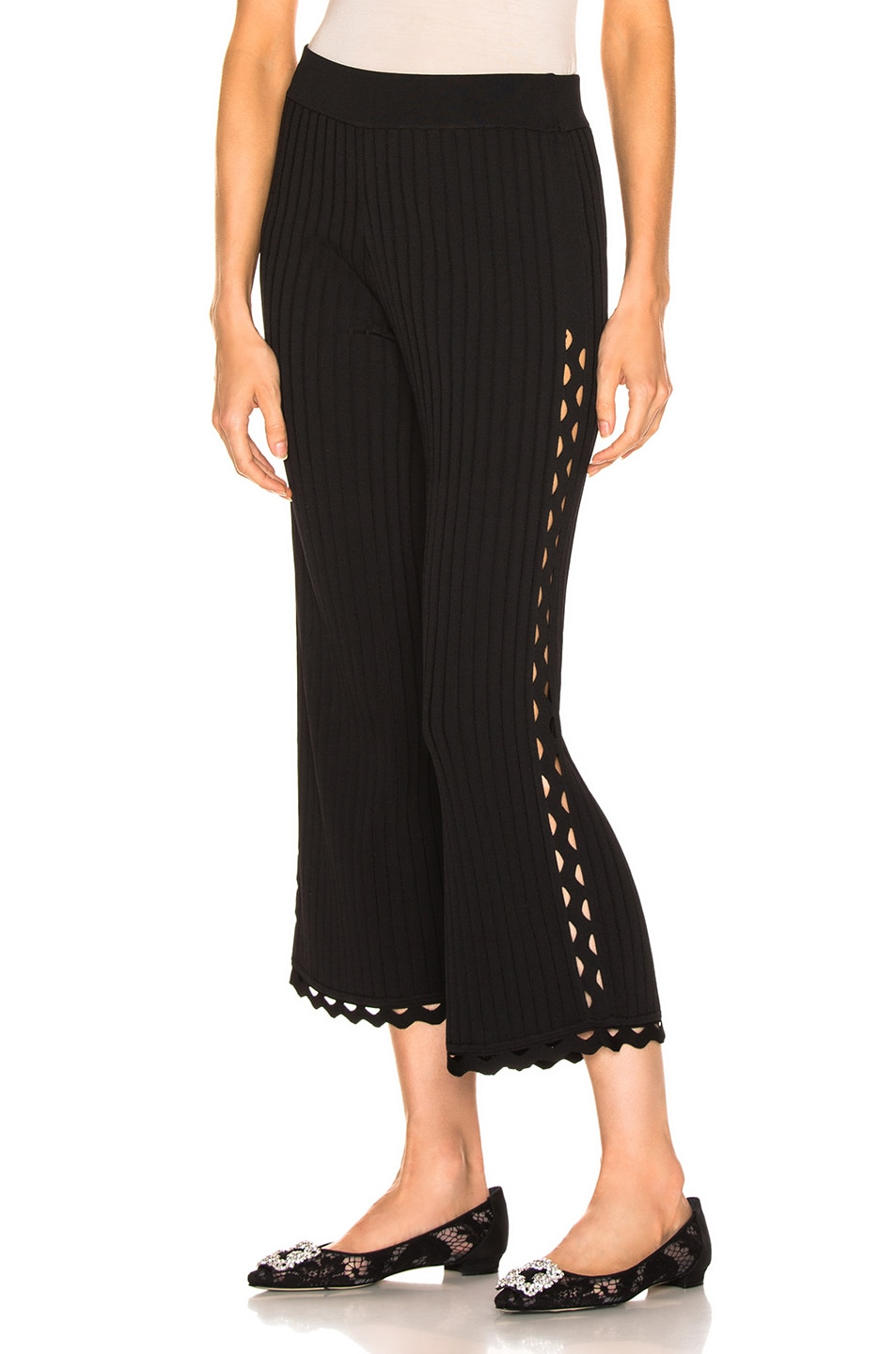 Image 1 of JONATHAN SIMKHAI Zig Zag Cropped Pant in Black