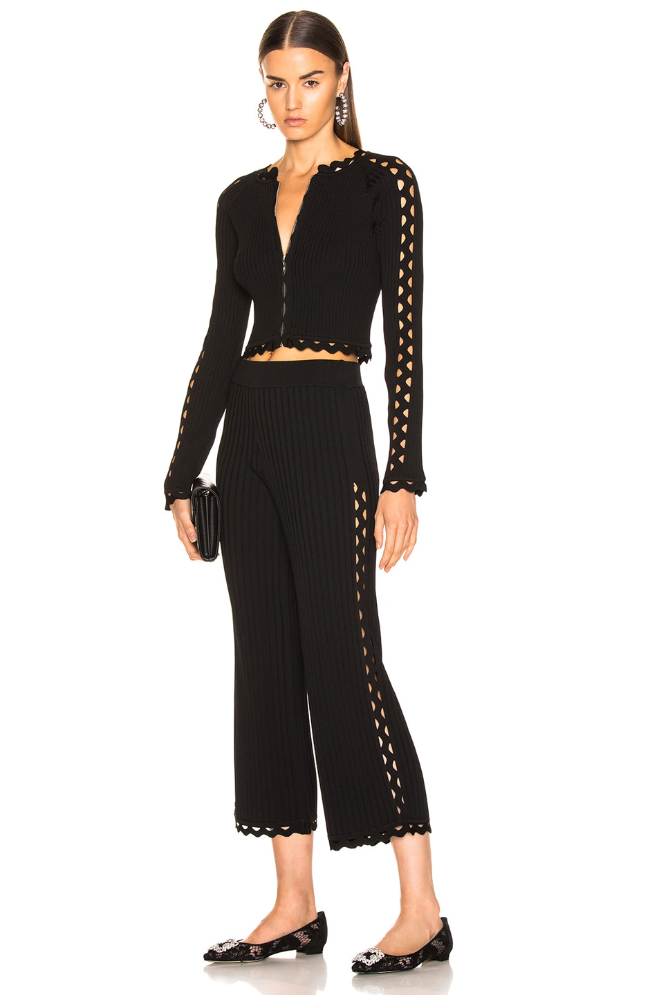 Image 5 of JONATHAN SIMKHAI Zig Zag Cropped Pant in Black