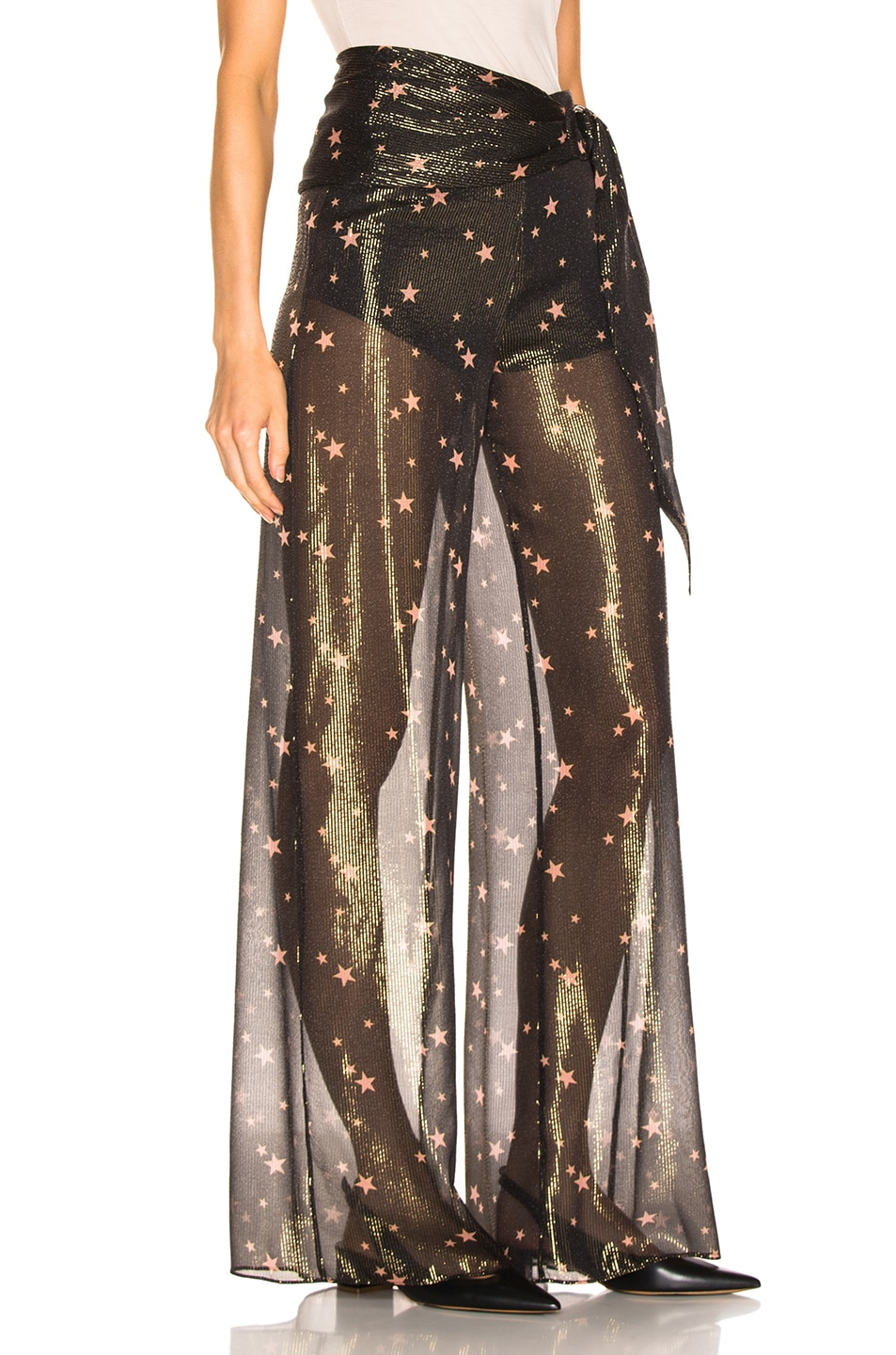 Image 2 of JONATHAN SIMKHAI for FWRD Tie Waist Sheer Pant in Star Print