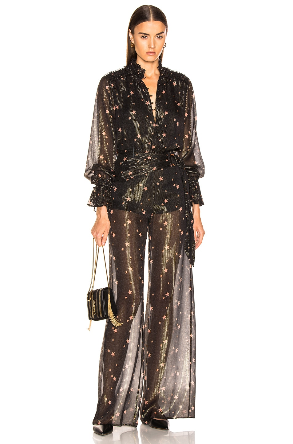 Image 4 of JONATHAN SIMKHAI for FWRD Tie Waist Sheer Pant in Star Print