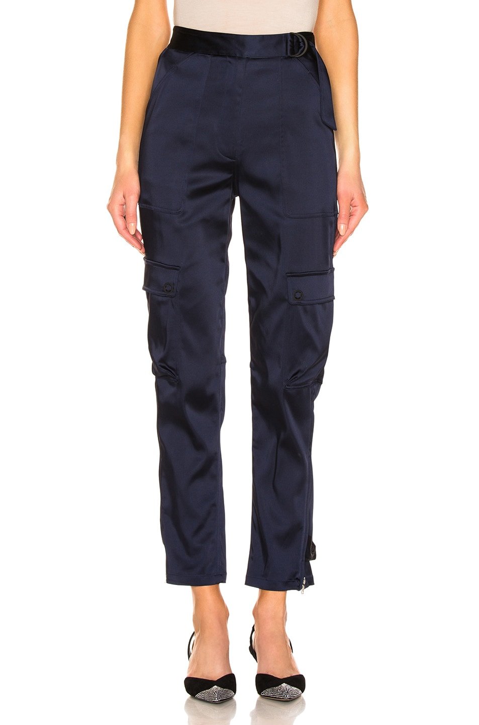 Image 1 of JONATHAN SIMKHAI Structured Sateen Utility Pant in Midnight Blue