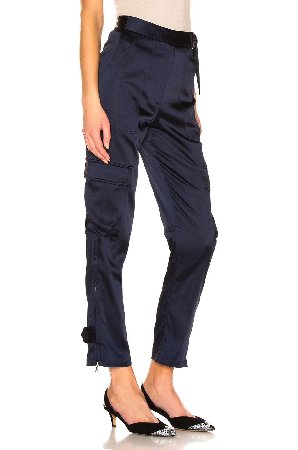 Image 2 of JONATHAN SIMKHAI Structured Sateen Utility Pant in Midnight Blue