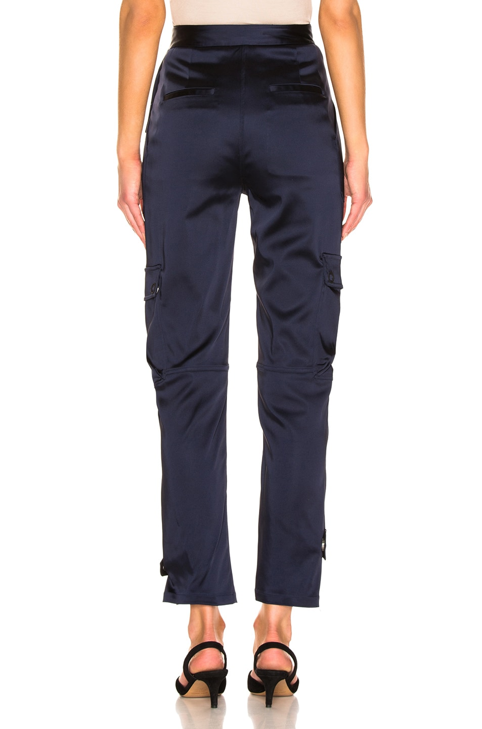 Image 3 of JONATHAN SIMKHAI Structured Sateen Utility Pant in Midnight Blue