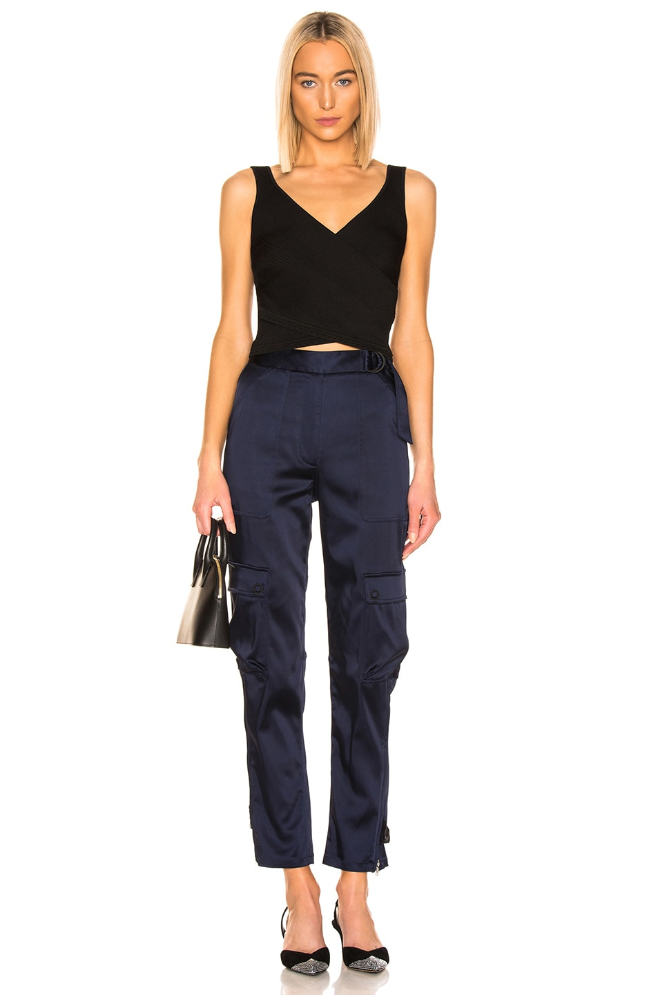 Image 4 of JONATHAN SIMKHAI Structured Sateen Utility Pant in Midnight Blue