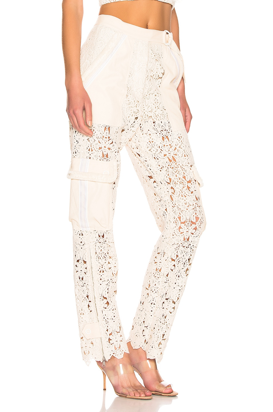 Image 2 of JONATHAN SIMKHAI Mixed Trim Twill Utility Pants in Ecru Combo