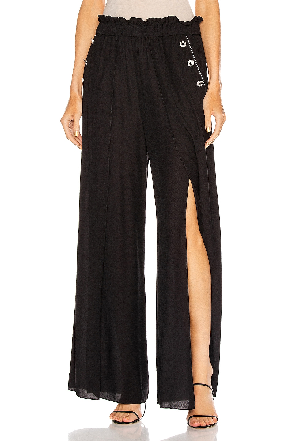 Image 1 of JONATHAN SIMKHAI Piped High Waisted Wide Leg Pant in Black