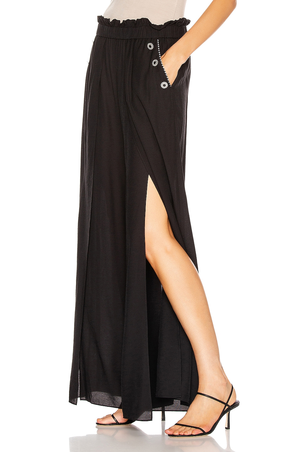 Image 3 of JONATHAN SIMKHAI Piped High Waisted Wide Leg Pant in Black
