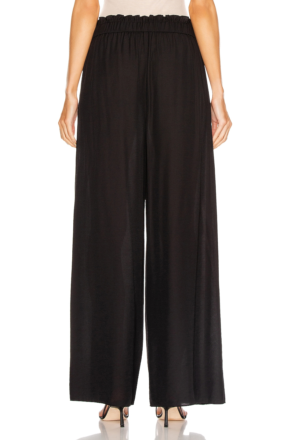 Image 4 of JONATHAN SIMKHAI Piped High Waisted Wide Leg Pant in Black