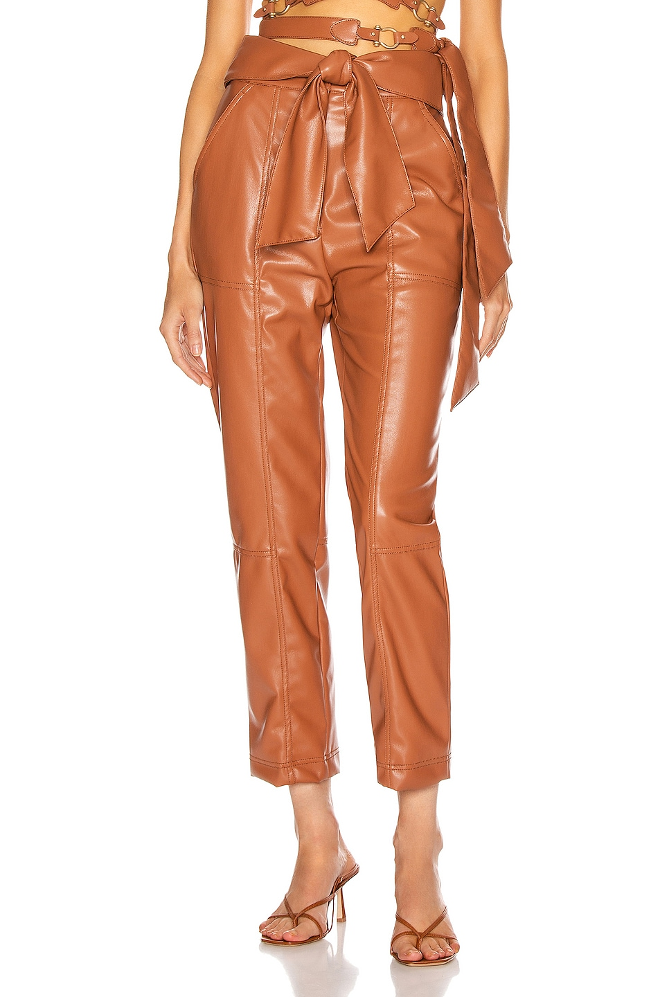 Image 1 of JONATHAN SIMKHAI Vegan Leather Tie Waist Pant in Tobacco