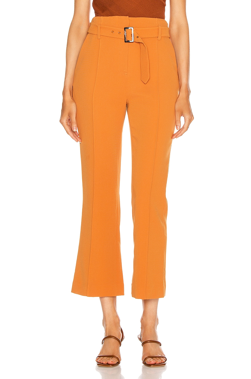 Image 1 of JONATHAN SIMKHAI Florence Crepe Belted Pant in Toffee