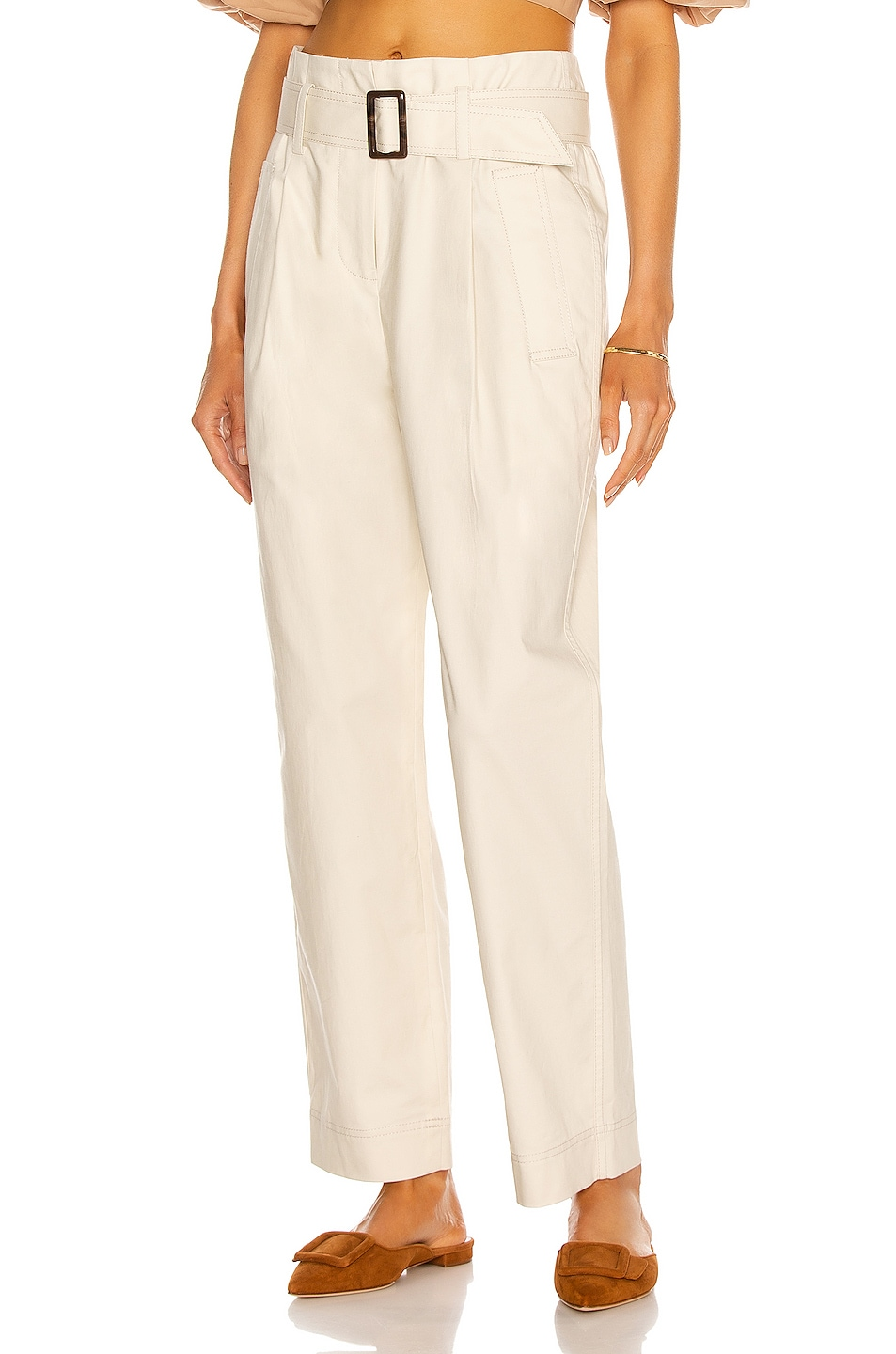 Image 1 of JONATHAN SIMKHAI Andie Trench Pant in Egret