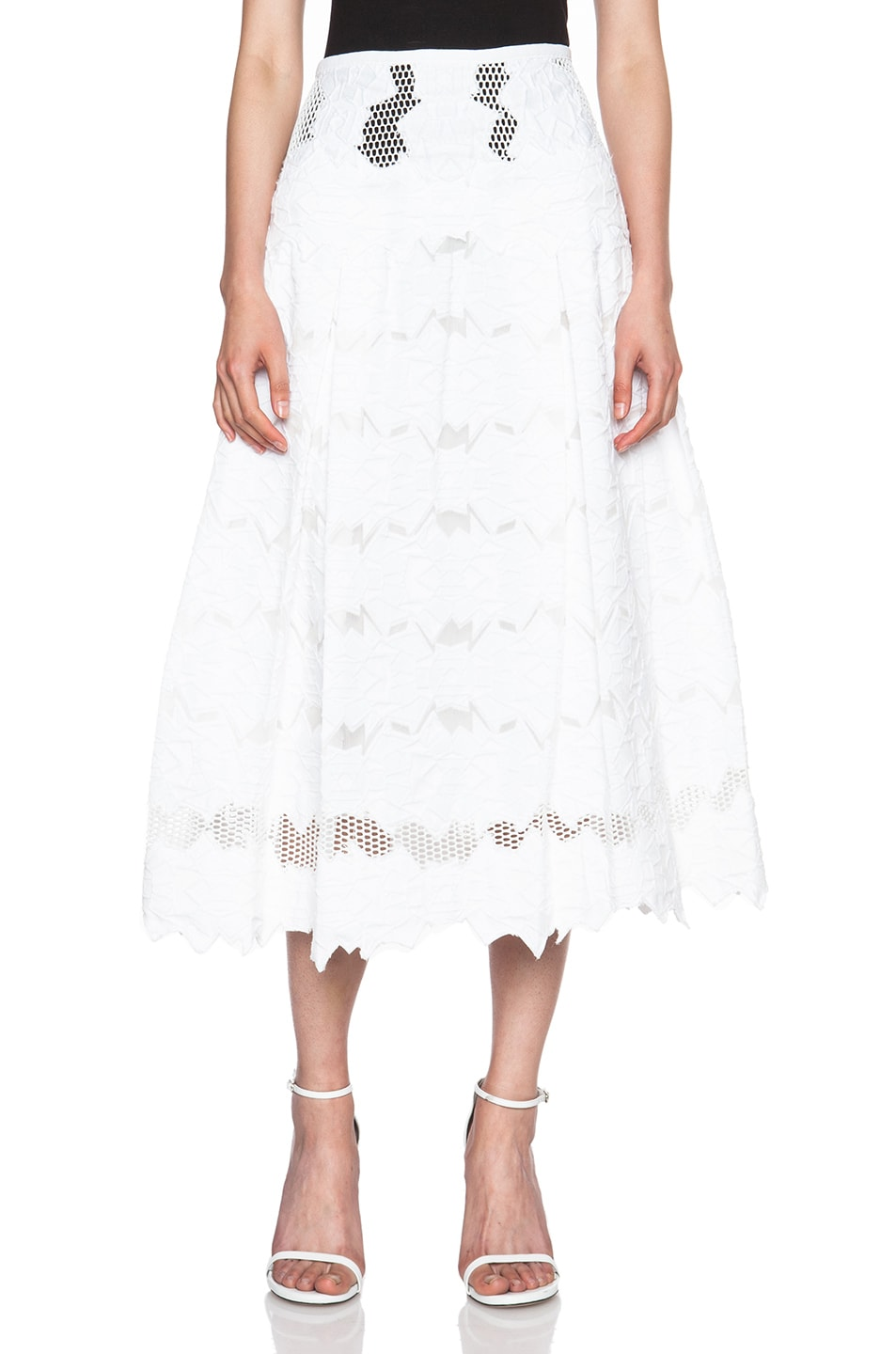8c1149fbb1a25b Image 1 of JONATHAN SIMKHAI Burnout Brocade Full Skirt in White