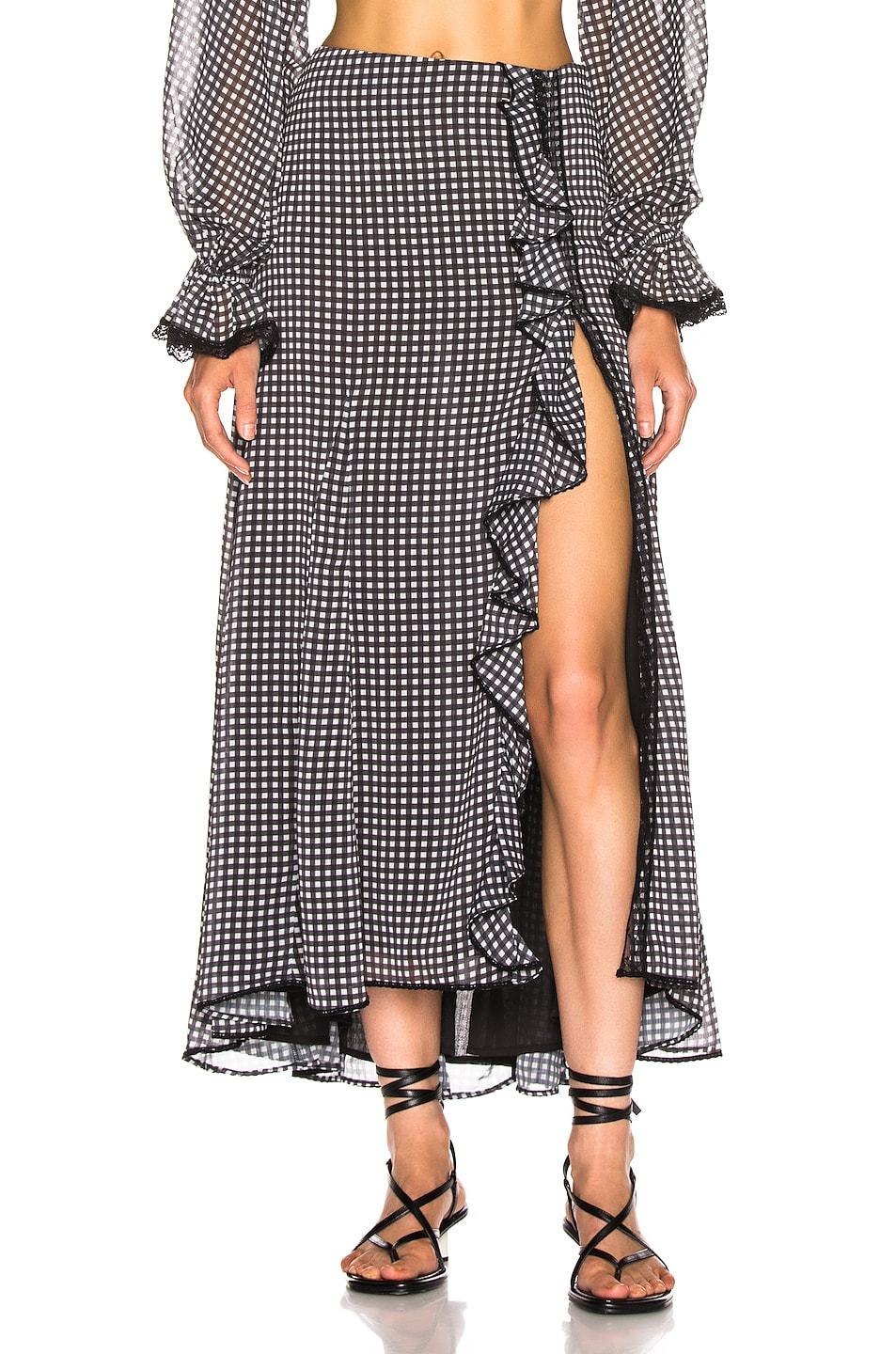 Image 1 of JONATHAN SIMKHAI Gingham Ruffle Maxi Skirt in Black & White