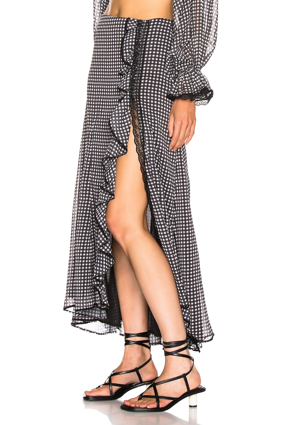 Image 3 of JONATHAN SIMKHAI Gingham Ruffle Maxi Skirt in Black & White