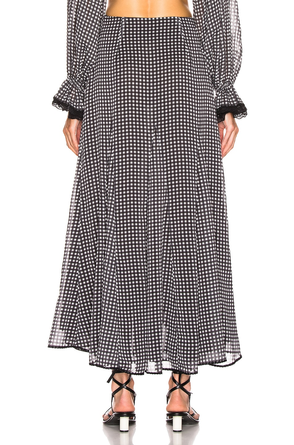Image 4 of JONATHAN SIMKHAI Gingham Ruffle Maxi Skirt in Black & White