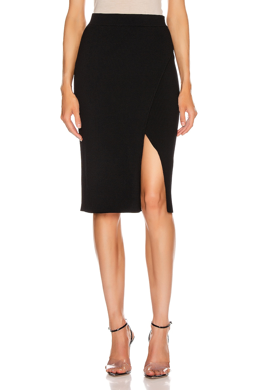 Image 1 of JONATHAN SIMKHAI Deep Rib Wrap Skirt in Black