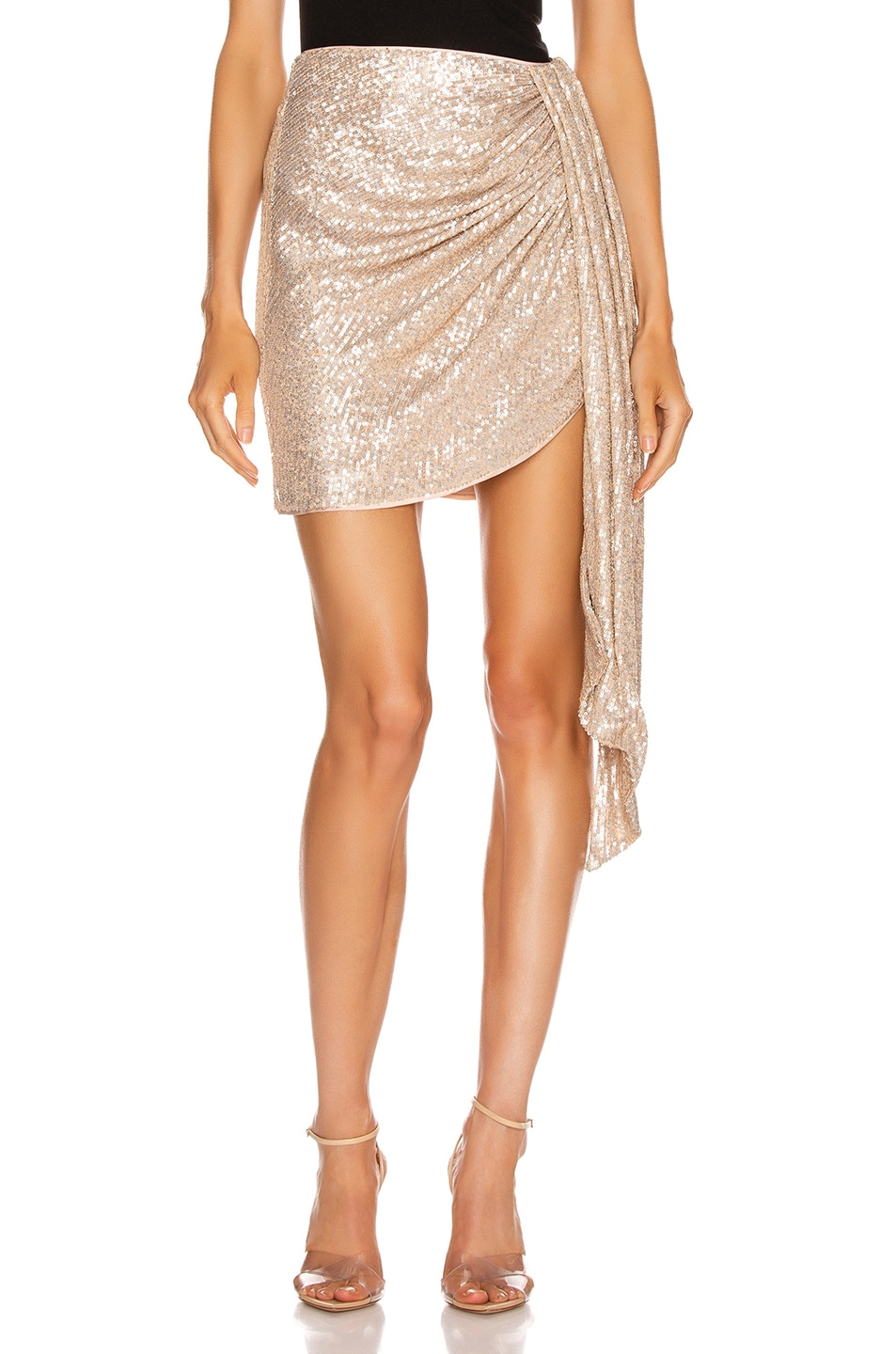 Jonathan Simkhai Skirts Sequin Mini Drape Front Skirt