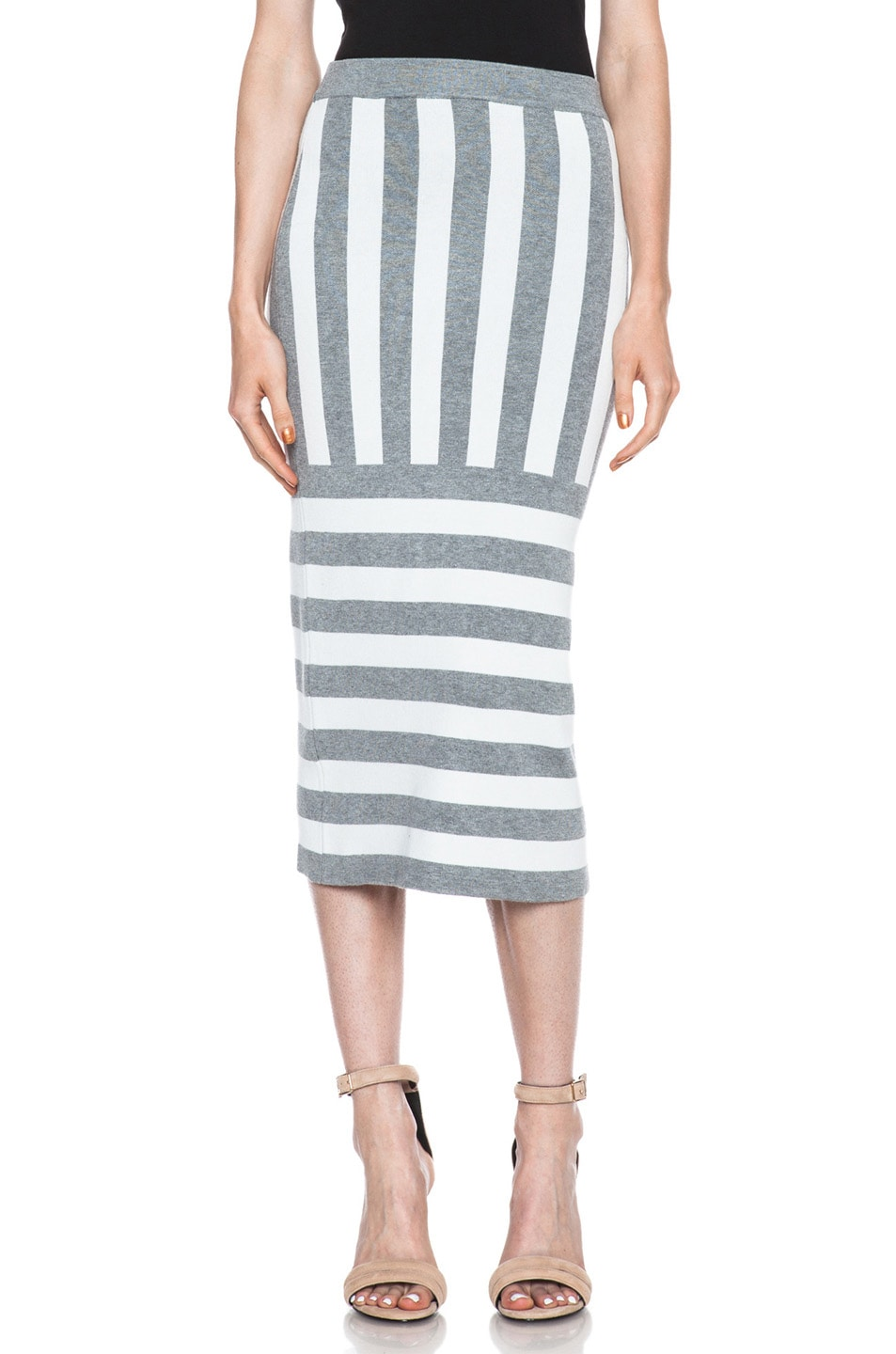Image 1 of JONATHAN SIMKHAI Striped Knit Skirt in Ivory & Grey