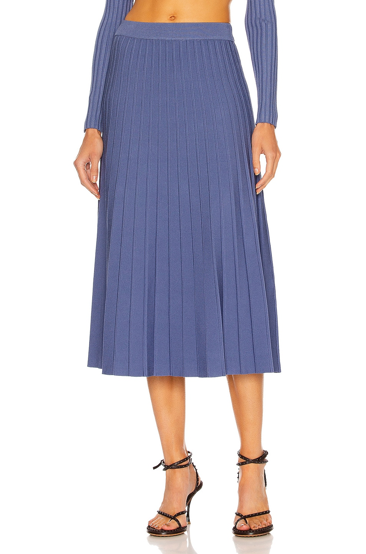 Image 1 of JONATHAN SIMKHAI Ira Pleated Skirt in Blue