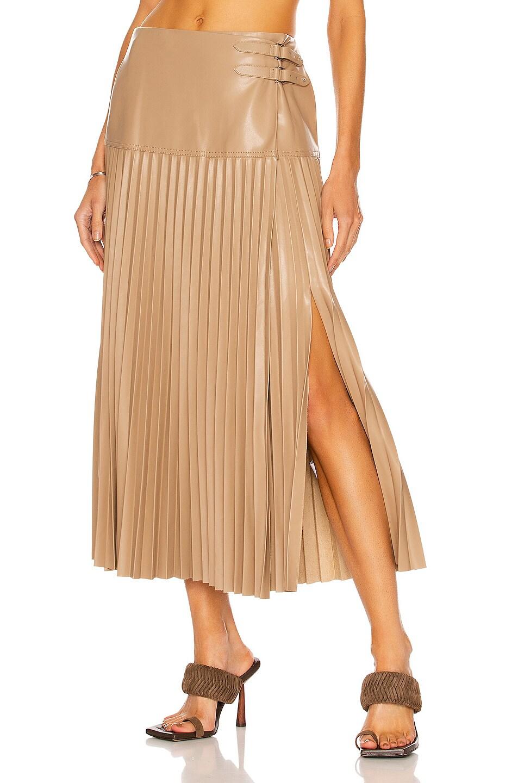 Image 1 of JONATHAN SIMKHAI Leona Vegan Leather Wrap Skirt in Sparrow