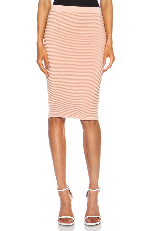 Image 1 of JONATHAN SIMKHAI Knit Rib Pencil Rayon-Blend Skirt in Pink