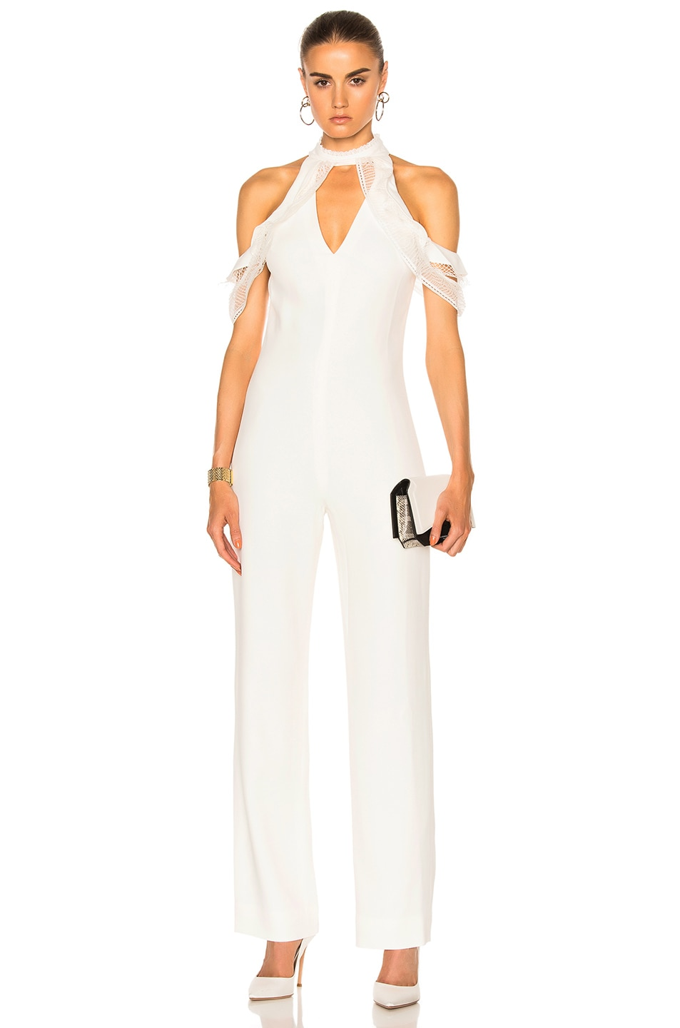 Image 1 of JONATHAN SIMKHAI Lace Ruffle Cold Shoulder Jumpsuit in Ivory