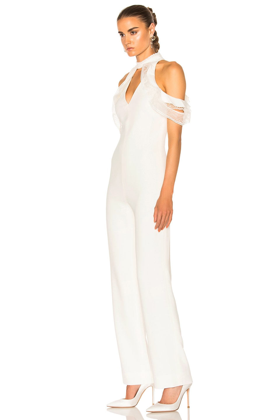 Image 2 of JONATHAN SIMKHAI Lace Ruffle Cold Shoulder Jumpsuit in Ivory