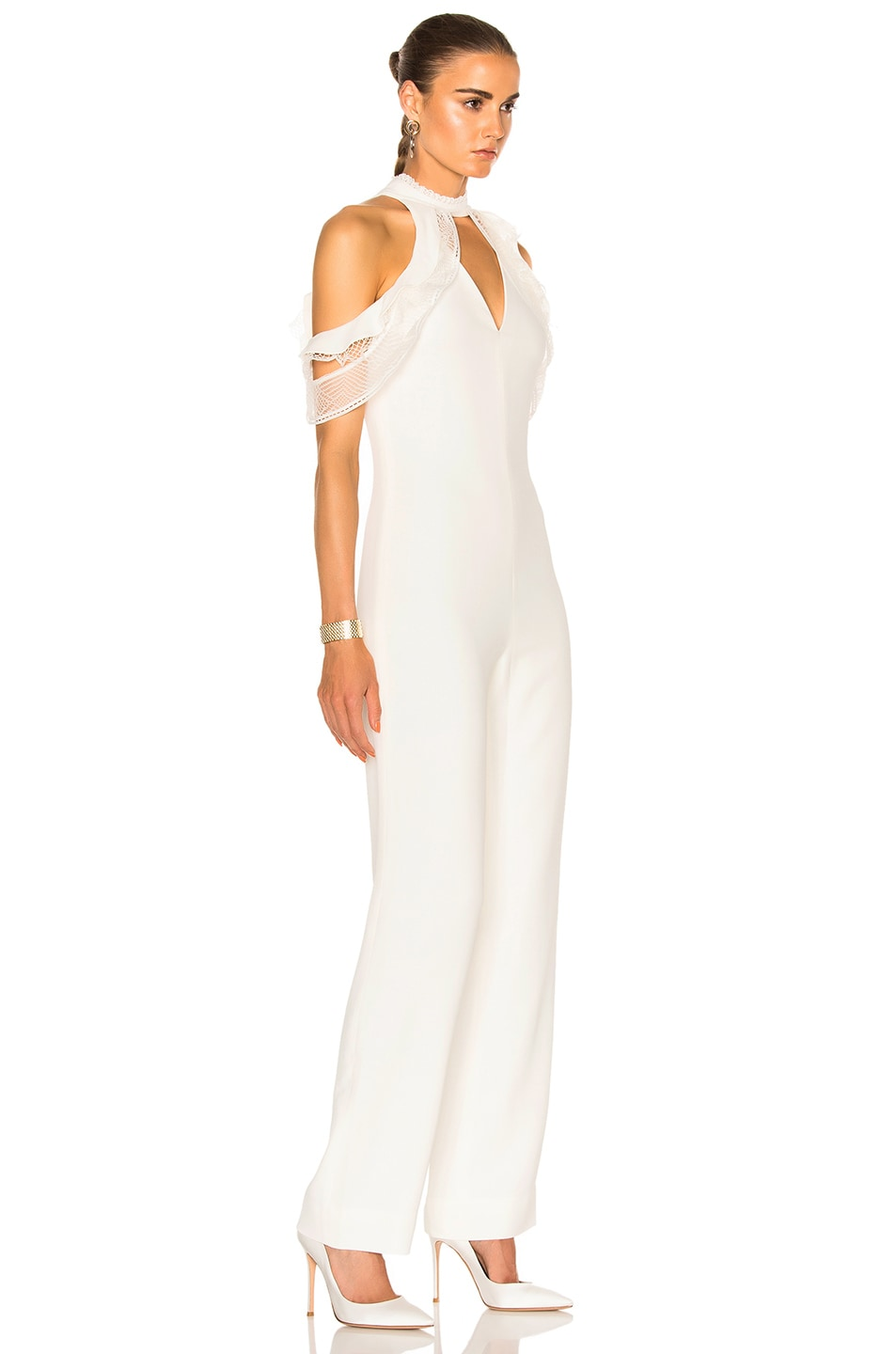 Image 3 of JONATHAN SIMKHAI Lace Ruffle Cold Shoulder Jumpsuit in Ivory