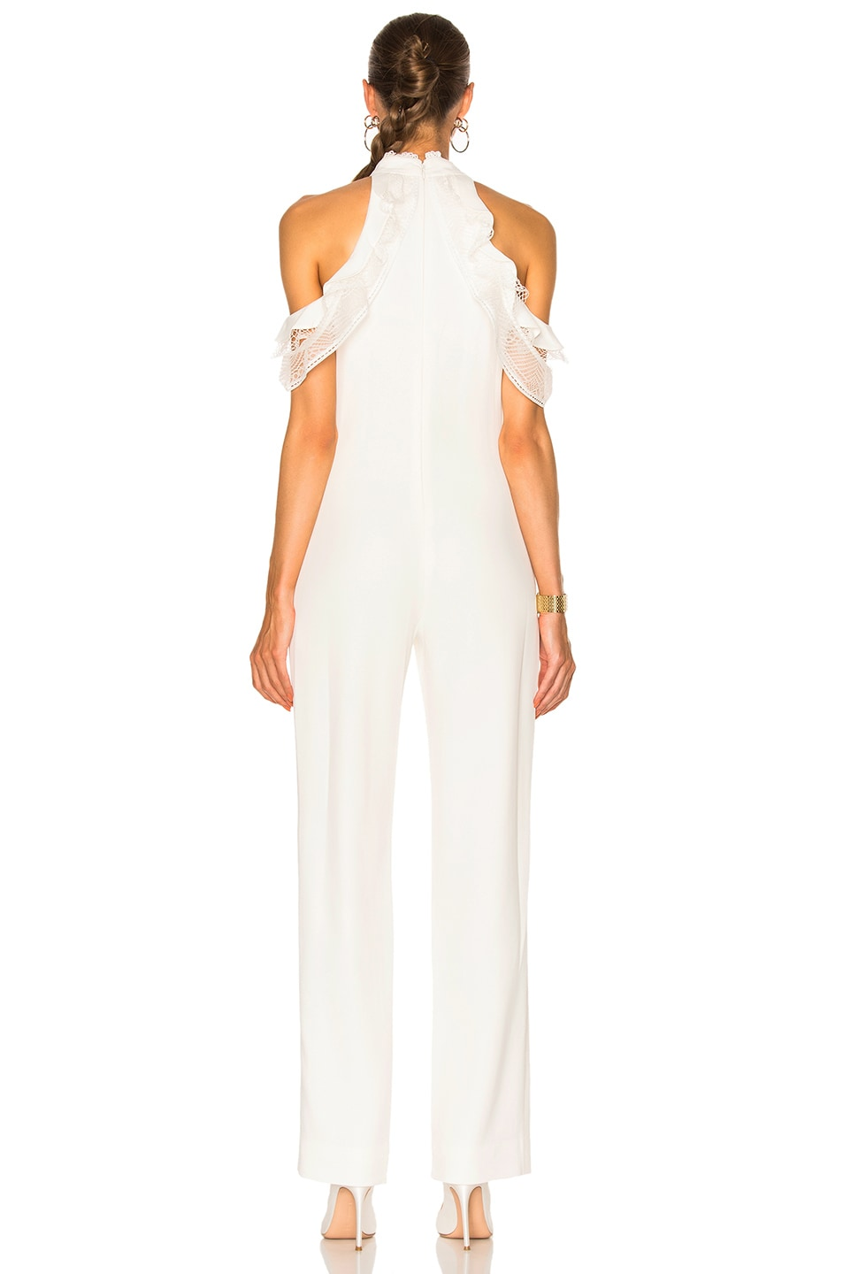 Image 4 of JONATHAN SIMKHAI Lace Ruffle Cold Shoulder Jumpsuit in Ivory