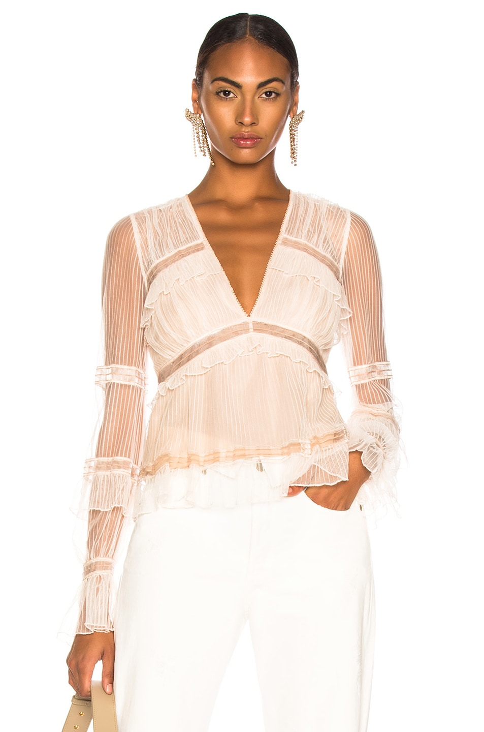 Image 1 of JONATHAN SIMKHAI V Neck Blouse in Nude