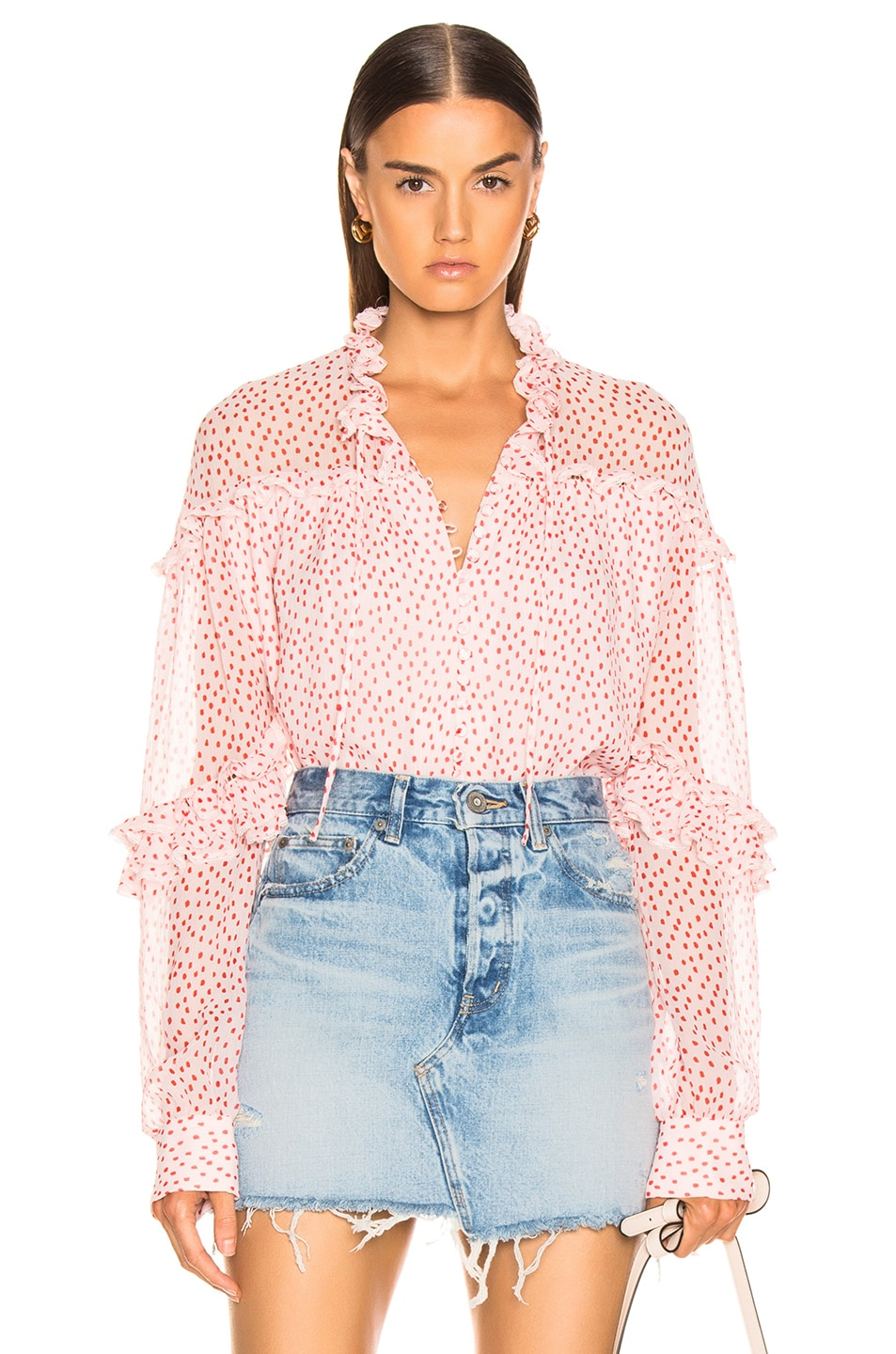 Image 1 of JONATHAN SIMKHAI Speckle Print Buttoned Top in Hibiscus & Red Print