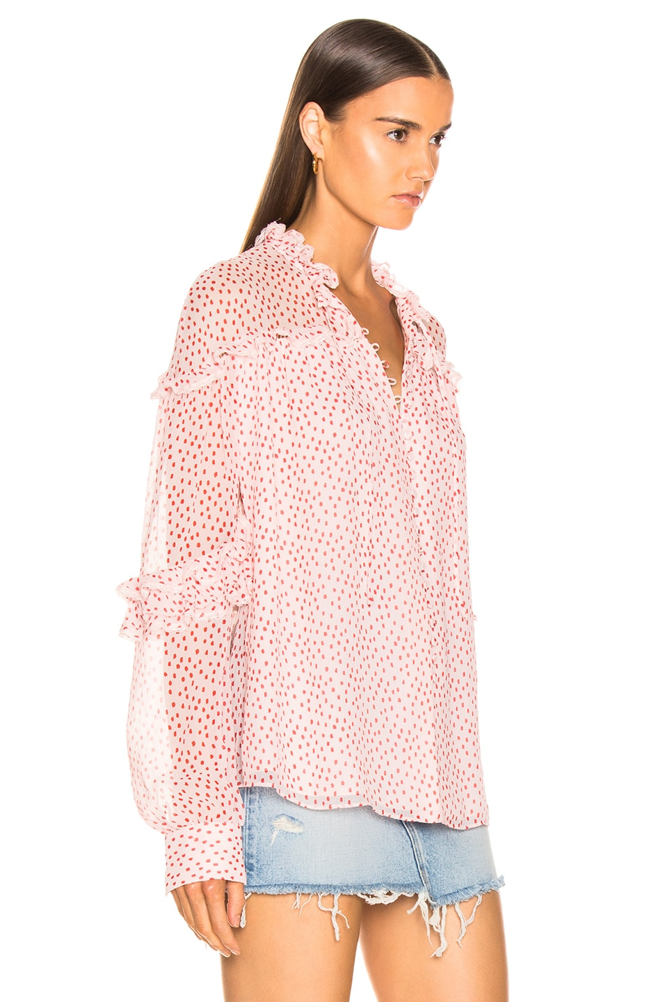 Image 2 of JONATHAN SIMKHAI Speckle Print Buttoned Top in Hibiscus & Red Print