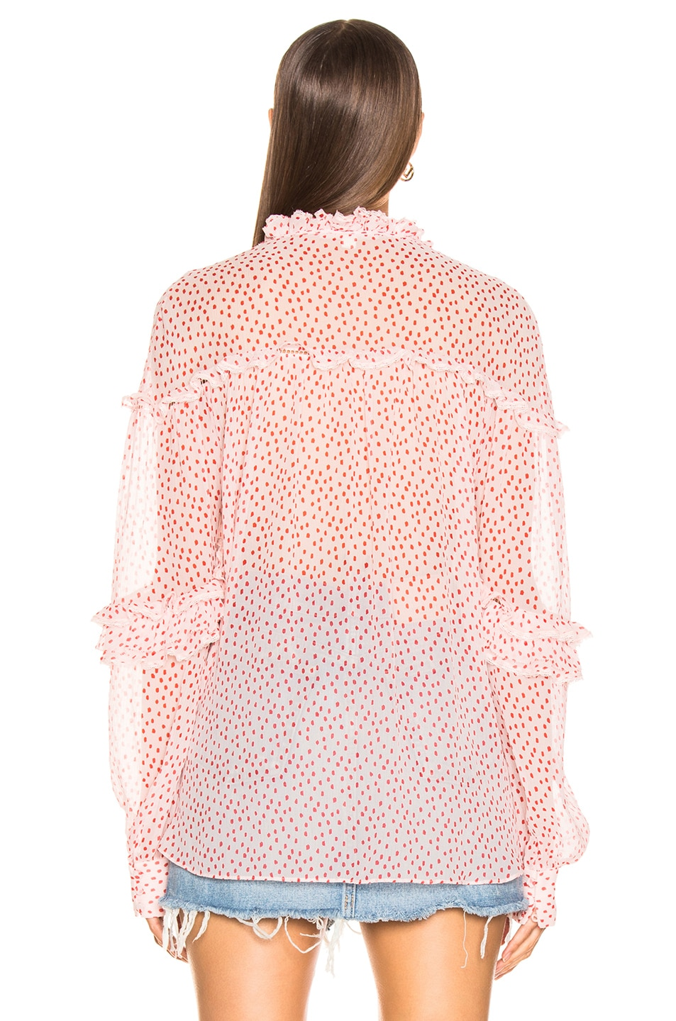 Image 3 of JONATHAN SIMKHAI Speckle Print Buttoned Top in Hibiscus & Red Print