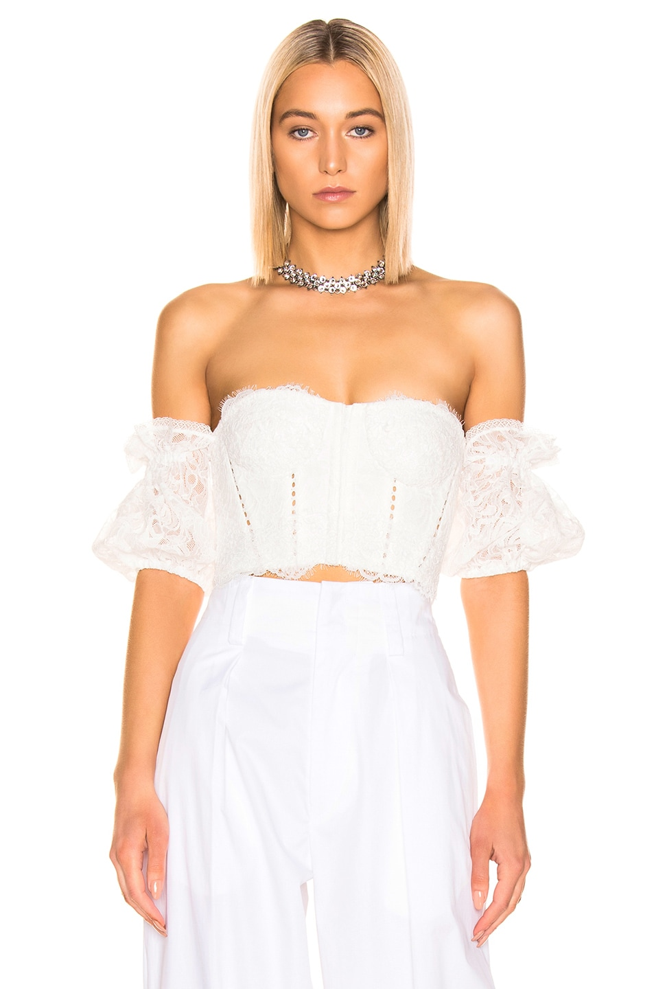 Image 2 of JONATHAN SIMKHAI Multimedia Corded Lace Bustier Top in White