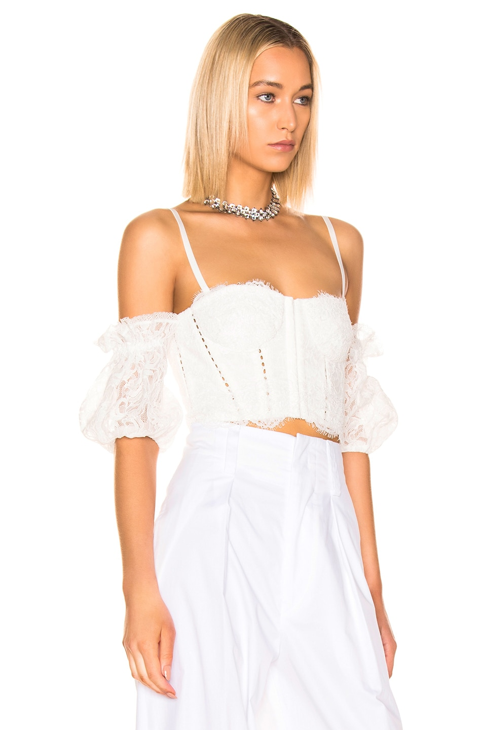 Image 3 of JONATHAN SIMKHAI Multimedia Corded Lace Bustier Top in White