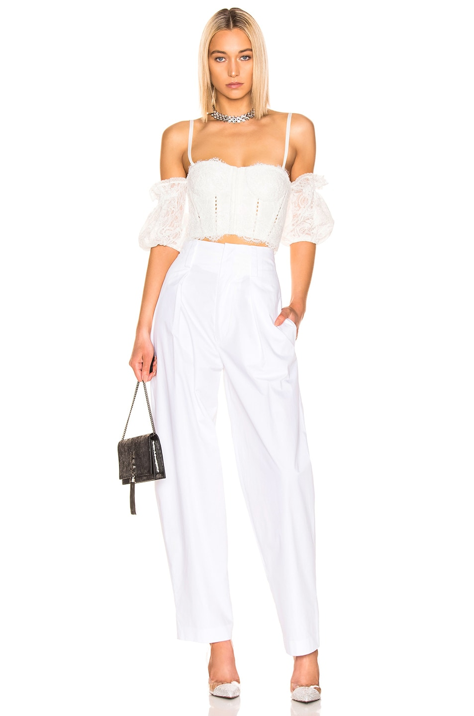 Image 5 of JONATHAN SIMKHAI Multimedia Corded Lace Bustier Top in White