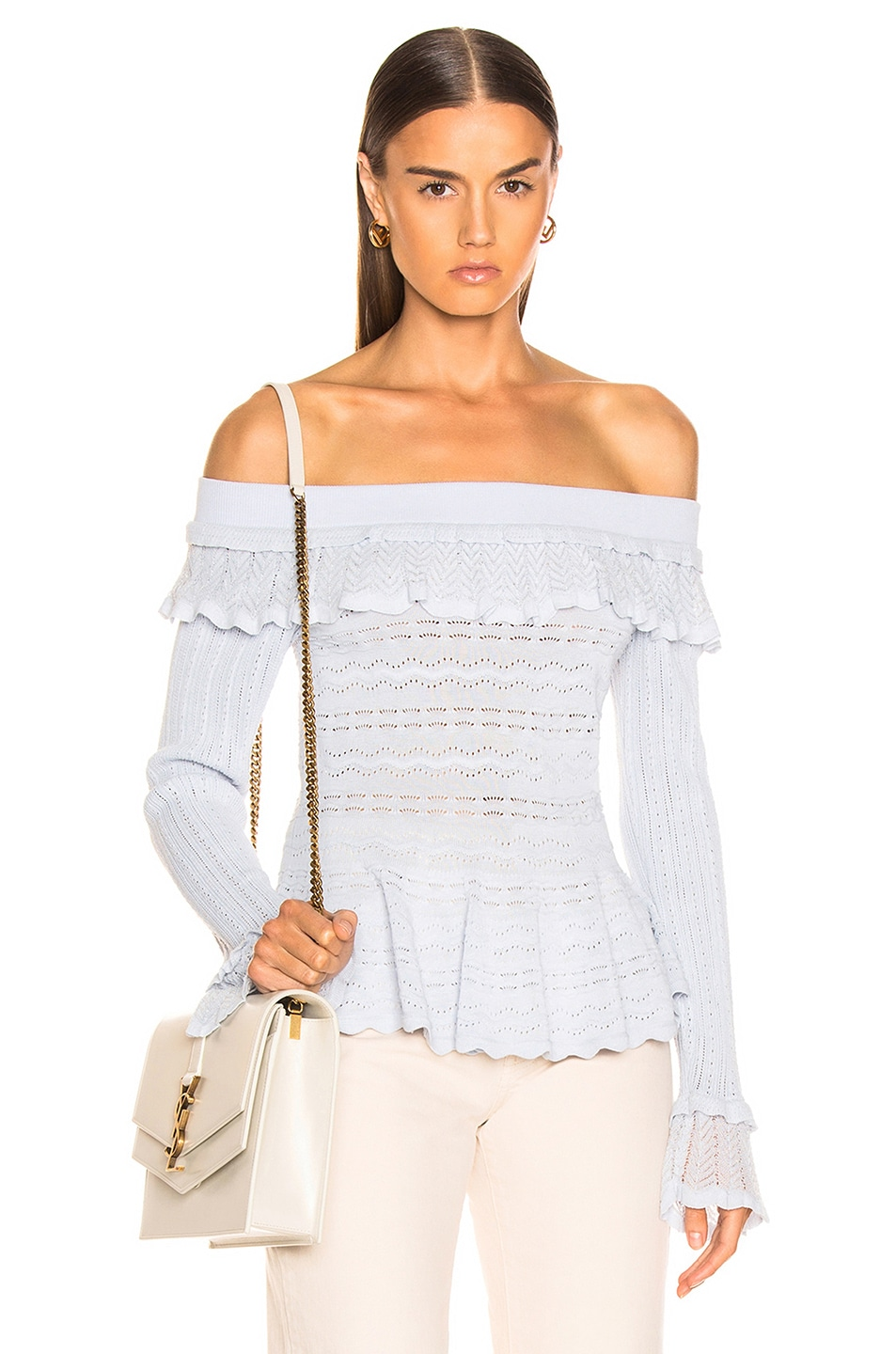 Image 1 of JONATHAN SIMKHAI Lacey Applique Off Shoulder Top in Light Blue