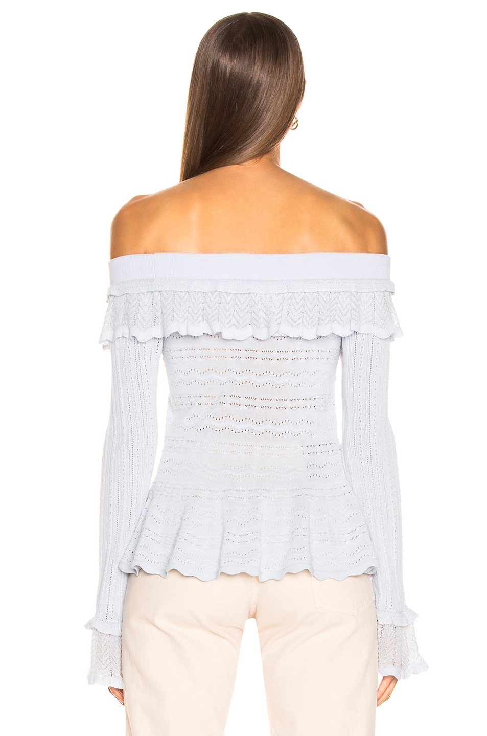 Image 3 of JONATHAN SIMKHAI Lacey Applique Off Shoulder Top in Light Blue