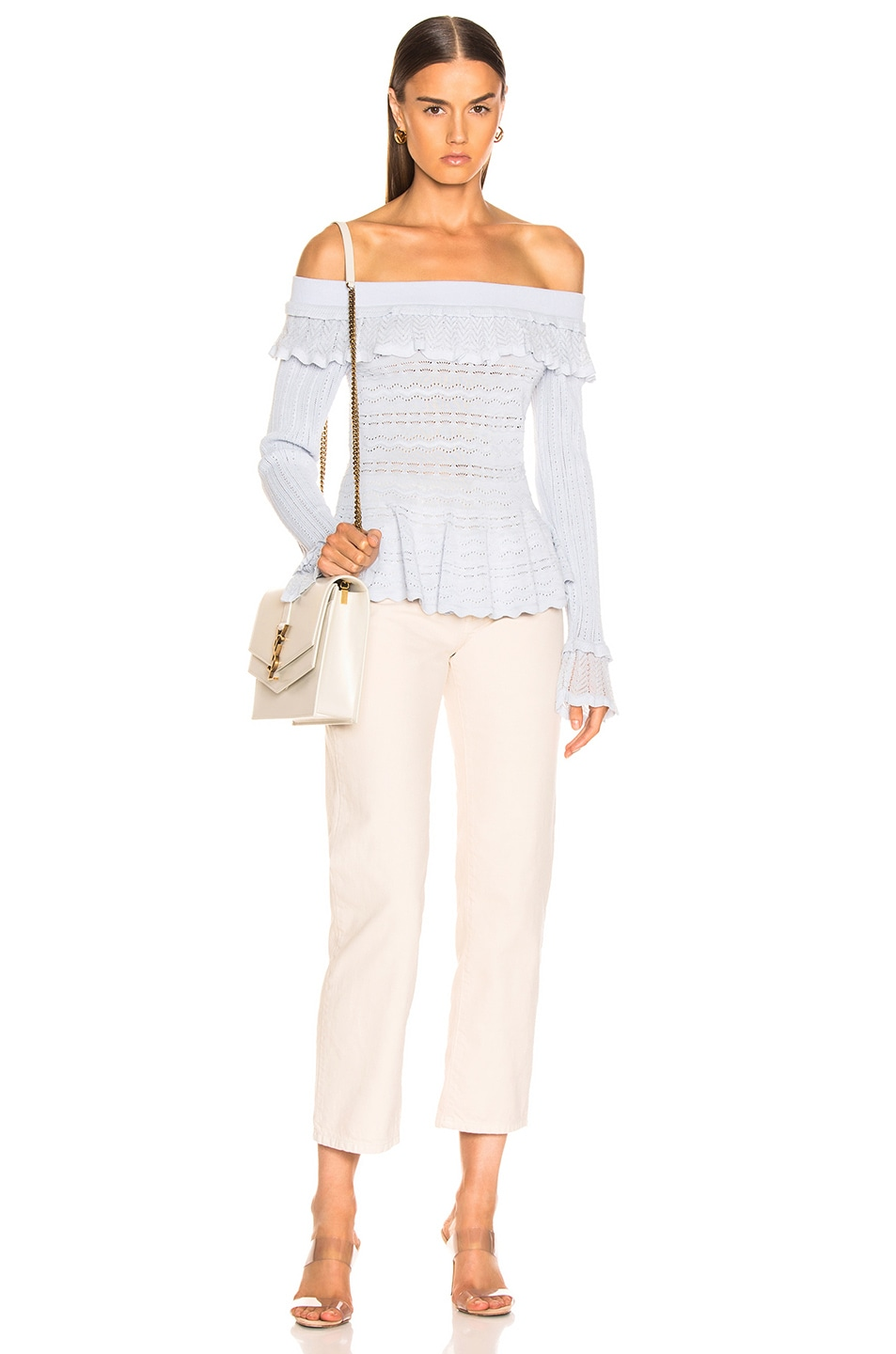 Image 4 of JONATHAN SIMKHAI Lacey Applique Off Shoulder Top in Light Blue