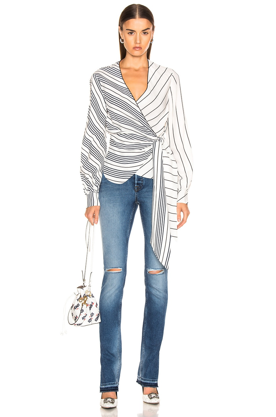 JONATHAN SIMKHAI Multimedia Stripe Wrap Top White, Black & Midnight durable service