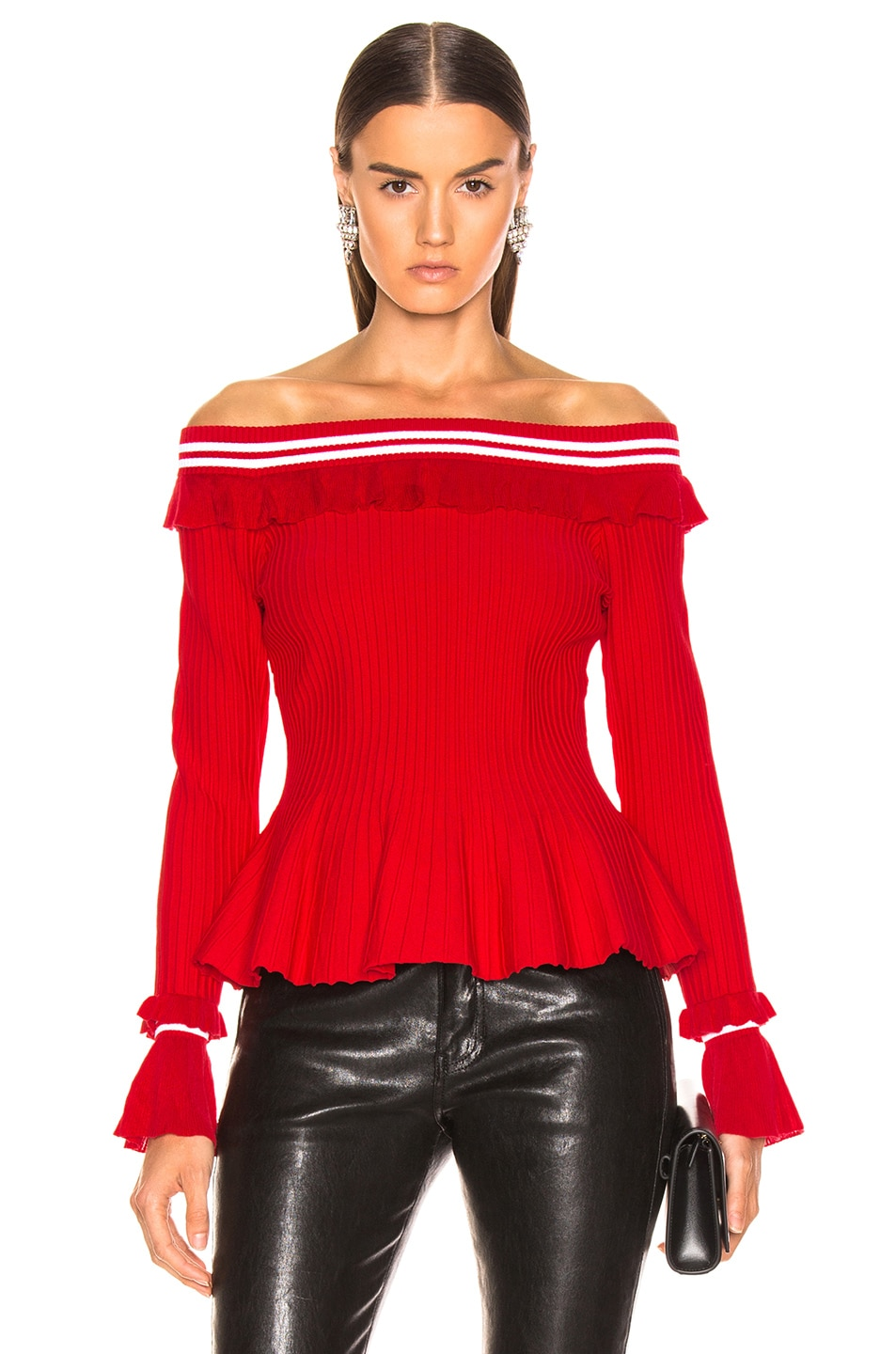 Image 1 of JONATHAN SIMKHAI for FWRD Off the Shoulder Ruffle Top in Red & White