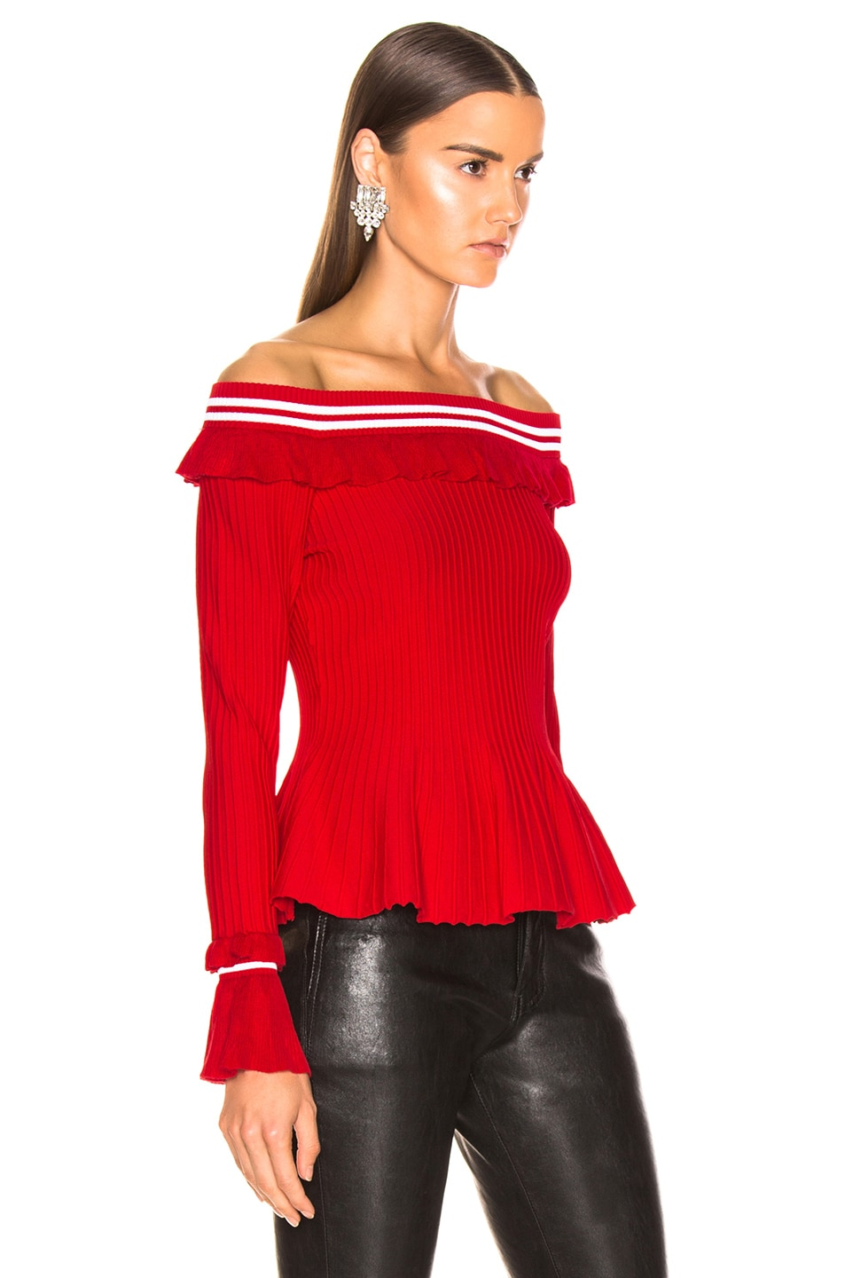 Image 2 of JONATHAN SIMKHAI for FWRD Off the Shoulder Ruffle Top in Red & White