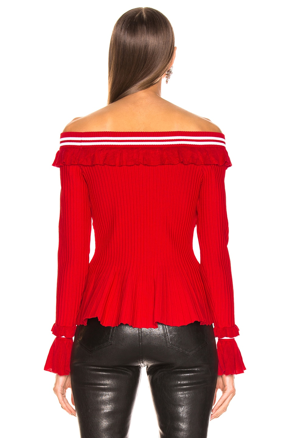 Image 3 of JONATHAN SIMKHAI for FWRD Off the Shoulder Ruffle Top in Red & White