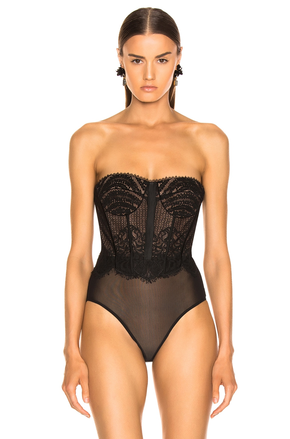 Image 3 of JONATHAN SIMKHAI Mixed Lace Bustier Bodysuit in Black