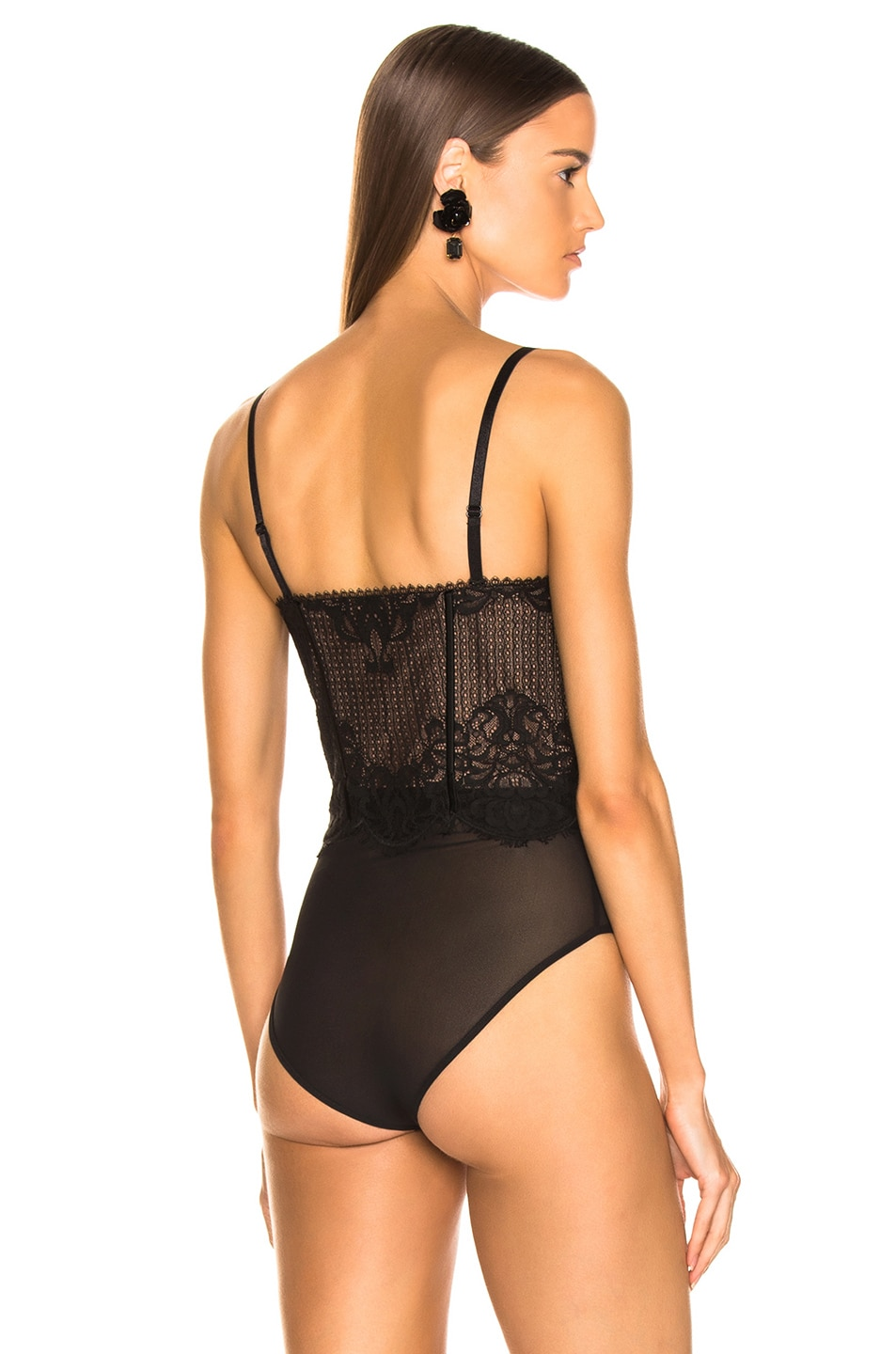Image 5 of JONATHAN SIMKHAI Mixed Lace Bustier Bodysuit in Black
