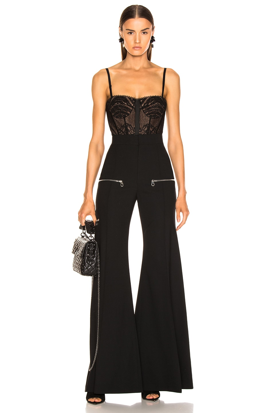 Image 6 of JONATHAN SIMKHAI Mixed Lace Bustier Bodysuit in Black